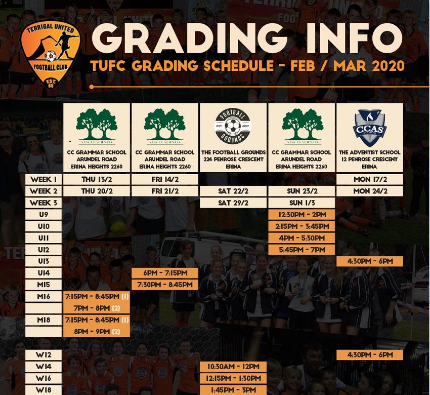 2020 Grading Schedule